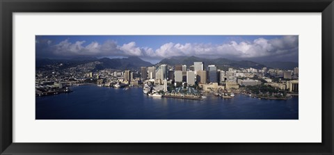 Framed Buildings at the waterfront, Honolulu, Hawaii, USA Print