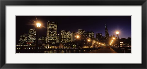 Framed San Francisco Skyline at Night Print