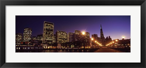 Framed Waterfront Buildings at Dusk, San Francisco, California Print