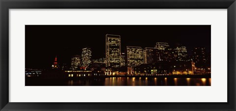 Framed Buildings at the waterfront lit up at night, San Francisco Print
