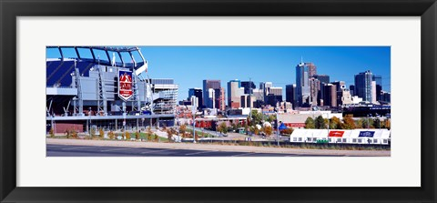 Framed Stadium in a city, Sports Authority Field at Mile High, Denver, Denver County, Colorado Print