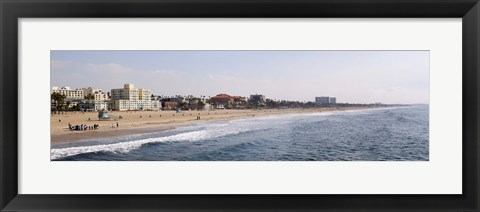 Framed Surf on the beach, Santa Monica Beach, Santa Monica, Los Angeles County, California, USA Print