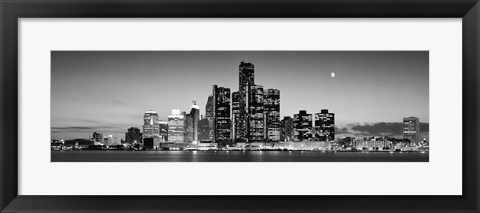 Framed Buildings at the waterfront, River Detroit, Detroit, Michigan, USA Print
