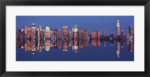 Framed New York Skyline with Reflection Print
