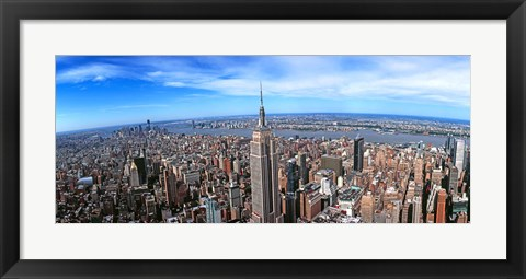 Framed Aerial view of New York City with empire state building, New York State Print