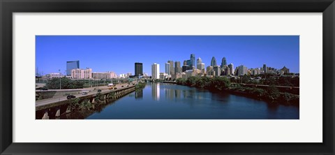 Framed Buildings at the waterfront, Philadelphia, Schuylkill River, Pennsylvania, USA Print