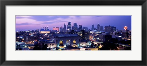 Framed Union Station at sunset with city skyline in background, Kansas City, Missouri Print