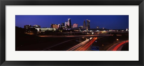 Framed Highway interchange and skyline at dusk, Kansas City, Missouri, USA Print