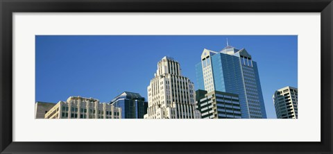 Framed Close up of buildings in Downtown Kansas City, Missouri Print