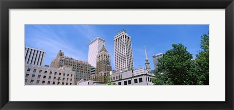 Framed Low angle view of downtown buildings, Tulsa, Oklahoma Print