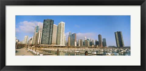 Framed Columbia Yacht Club with buildings in the background, Lake Point Tower, Chicago, Cook County, Illinois, USA Print