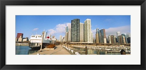 Framed Columbia Yacht Club with city skyline, Chicago, Cook County, Illinois, USA Print