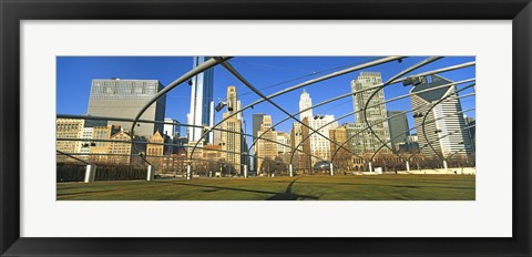 Framed Jay Pritzker Pavilion with city skyline in the background, Millennium Park, Chicago, Cook County, Illinois, USA Print