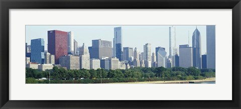 Framed City skyline with Lake Michigan and Lake Shore Drive in foreground, Chicago, Illinois, USA Print