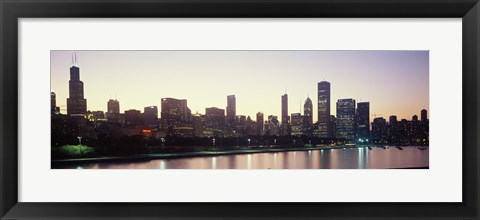 Framed City skyline with Lake Michigan and Lake Shore Drive in foreground at dusk, Chicago, Illinois, USA Print