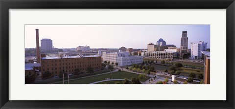 Framed High angle view of buildings in a city, Durham, Durham County, North Carolina, USA Print
