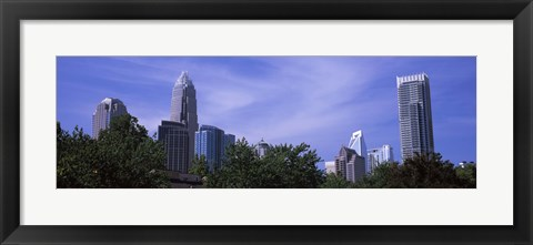 Framed Low angle view of skyscrapers in a city, Charlotte, Mecklenburg County, North Carolina, USA Print