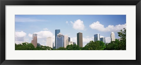 Framed Houston Skyline with Clouds, Texas, USA Print