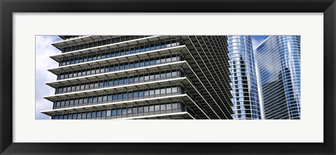 Framed Low angle view of buildings in a city, ExxonMobil Building, Chevron Building, Houston, Texas, USA Print