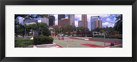 Framed Basketball court with skyscrapers in the background, Houston, Texas Print