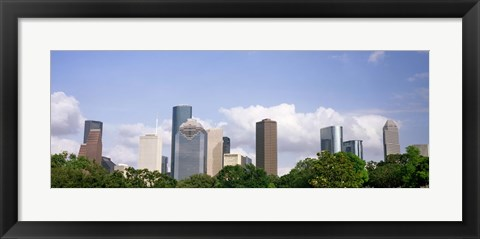Framed Wedge Tower, ExxonMobil Building, Chevron Building from a Distance, Houston, Texas, USA Print