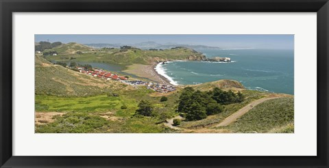 Framed High angle view of a coast, Marin Headlands, Rodeo Cove, San Francisco, Marin County, California, USA Print