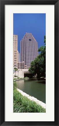Framed Buildings at the waterfront, Weston Centre, NBC Plaza, San Antonio, Texas, USA Print