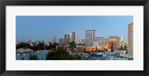 Framed Skyline at dawn, Oakland, California, USA Print
