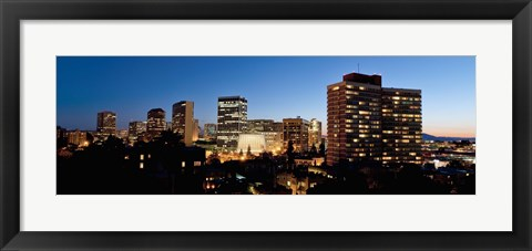 Framed Skyline at dusk, Oakland, California Print