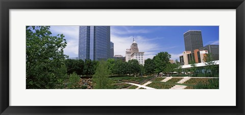 Framed Botanical garden with skyscrapers in the background, Myriad Botanical Gardens, Oklahoma City, Oklahoma, USA Print