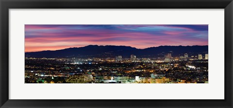 Framed High angle view of a city at dusk, Culver City, Santa Monica Mountains, West Los Angeles, Westwood, California, USA Print