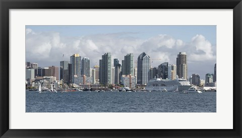 Framed San Diego City Skyline Print
