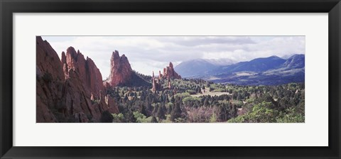 Framed Rock formations on a landscape, Garden of The Gods, Colorado Springs, Colorado Print