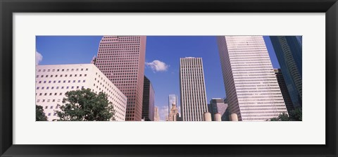 Framed Low angle view of Downtown skylines, Houston, Texas, USA Print
