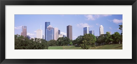 Framed Downtown skylines, Houston, Texas Print