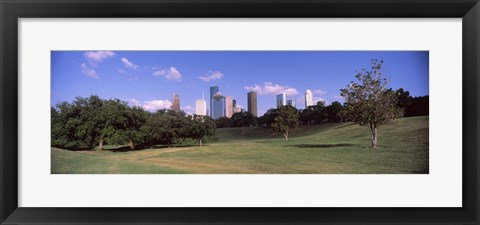 Framed Downtown skylines viewed from a park, Houston, Texas, USA Print