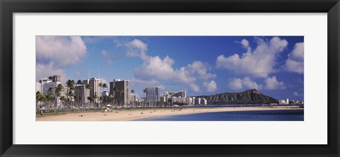 Framed Waikiki Beach with mountain in the background, Diamond Head, Honolulu, Oahu, Hawaii, USA Print