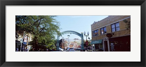 Framed Street scene, Lincoln Square, Chicago, Cook County, Illinois, USA Print