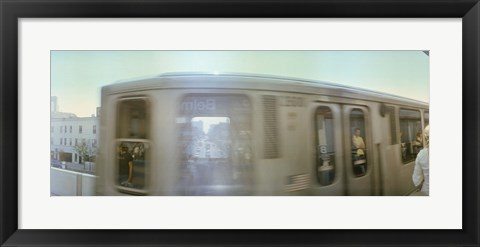 Framed Train entering into station platform, Chicago, Cook County, Illinois, USA Print