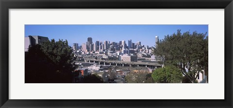 Framed Skyline with Highway Overpass, San Francisco Print