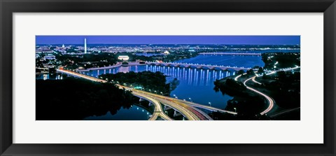 Framed Aerial view of Washington DC and river Print