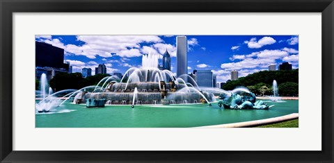 Framed Buckingham Fountain in Grant Park, Chicago, Cook County, Illinois, USA Print