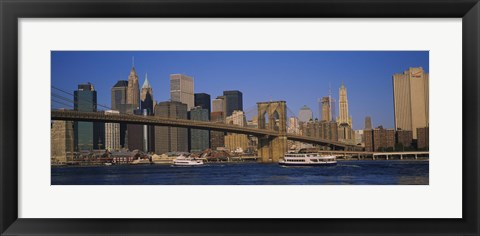 Framed Suspension bridge with skyscrapers in the background, Brooklyn Bridge, East River, Manhattan, New York City Print