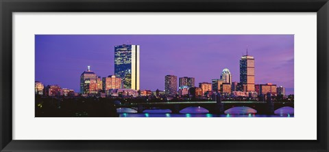 Framed Bridge with city at the waterfront, Charles River, Back Bay, Longfellow Bridge, Boston, Suffolk County, Massachusetts Print