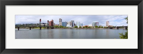 Framed Bridges with city skyline in the background, Hawthorne Bridge, Burnside Bridge, Willamette River, Portland, Oregon, USA 2010 Print
