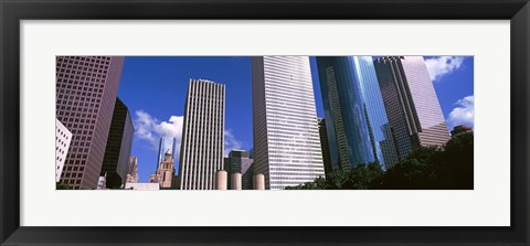 Framed Low angle view of buildings, Wedge Tower, Continental Airlines Tower, ExxonMobil Building, Chevron Building, Houston, Texas, USA Print