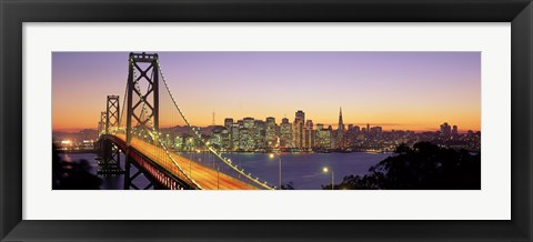 Framed San Francisco Bay Bridge At Dusk, California Print