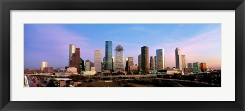 Framed USA, Texas, Houston, twilight Print