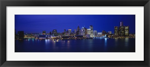 Framed USA, Michigan, Detroit, night Print