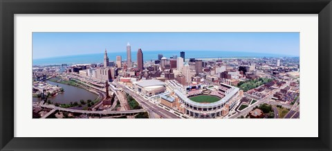Framed Aerial View Of Jacobs Field, Cleveland, Ohio, USA Print